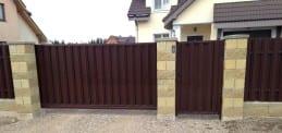 Ворота сдвижные из штакетника металлического